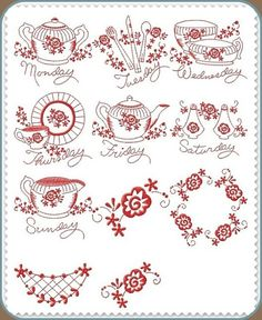 Machine Embroidery Designs :: Affordable :: Great Quality :: China Redwork DOW Embroidery Hearts, Hand Embroidery Stitches, Couture Embroidery, Vintage Embroidery, Free Machine Embroidery Designs, Hand Stitching, Biscuits, China, Teapots