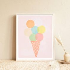 Ice Cream Sign, Ice Cream Scoop, Kitchen Prints, Kitchen Wall Art, Kitchen Interior Inspiration, Ice Cream Illustration, Diy Home Decor Bedroom, Food Illustrations, Wall Colors