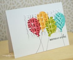 Balloon Birthday Wishes Card by Nichole Heady for Papertrey Ink (July 2013)