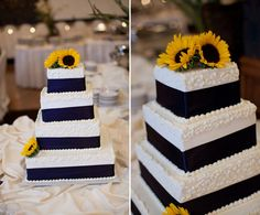 Navy blue and sunflower cake