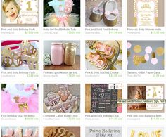 Pink and Gold party ideas to help you plan your next party using items from Etsy crafters.