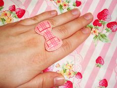 Huge Strawberry Gingham Ruffley Ribbon Ring by wearitcuter on Etsy
