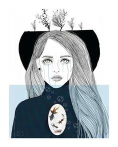 20+ Siyah Beyaz İllüstrasyon ile Yalnızlık ve Kadına Bakış: Danijela Simic Sanatlı Bi Blog 25