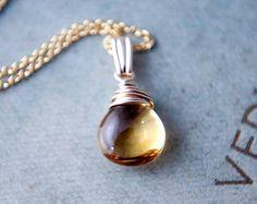 Citrine Birthstone Necklace November Birthstone Jewelry Yellow Golden Fall PoleStar