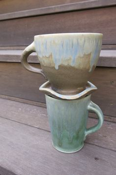 $35 by Licia Lucas-Pfadt Rustic Drippy Brown and Blue Coffee Pourover by ShadyGrovePottery