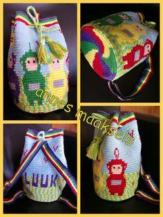 Rugzakje voor mijn kleinzoon Luuk met geweven banden en een gedraaid koord. Tapestry Bag, Tapestry Crochet, Inkle Weaving, Bucket Bag, Rugs, Knitting, Sewing, Pattern, Handmade