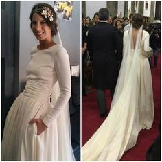 Marta Riumbau in white long simple traditional wedding bridal dress gown #bride