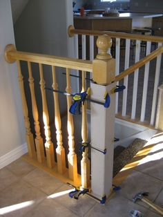 Stair Banister Renovation Using Existing Newel Post and Handrail – carpet stairs Stair Newel Post, Diy Stair Railing, Stair Posts, Newel Posts, Staircase Design, Staircase Ideas, Banister Ideas, Iron Staircase, House Stairs