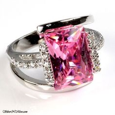 '925 Sterl.FASHION PINK KUNZITE CZ COCKTAIL ' is going up for auction at 11pm Sat, Oct 27 with a starting bid of $9.