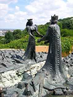 The sculpture name Buda and Pest >symbol of the city > on Gellért Hill, Budapest, Hungary