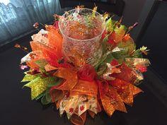 "17"" Fall/Autumn Deco Mesh Centerpiece/Candle Holder W/ Leaf Garland - Multicolor | eBay"