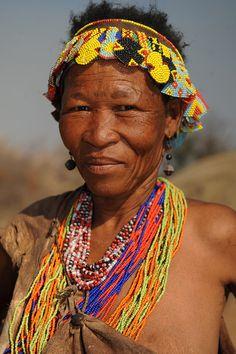 San woman of Namibia with brick stitch baubled headband. My favourite brick stitch adornment! (Photo © Geert Henau).