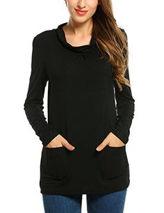 Zeagoo Womens Pullover TShirt Long Sleeve Cowl Neck Blouse TunicMediumBlack *** For more information, visit image link.