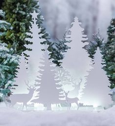 Wind & Weather Deer and Trees Silhouettes Diorama Lighted Display Hanging Christmas Lights, Outdoor Christmas Decorations, Holiday Lights, Christmas Wreaths, Christmas Light Installation, Christmas Gifts For Women, White Christmas, White Laser Christmas Lights, Christmas Stage