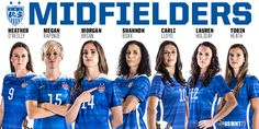 Here are the midfielders (starters and subs) that play on the U.S. Women's soccer team