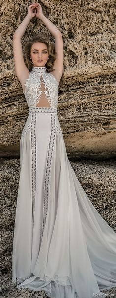 dany mizrachi 2018 bridal sleeveless high neck heavily embellished keyhole bodice flowy skirt bohemian sheath wedding dress keyhole back chapel train (5) mv -- Dany Mizrachi 2018 Wedding Dresses