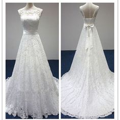 Vintage Simple Country Elegant Bridal Lace Tulle Wedding Dresses Online The wedding dresses are fully lined, 4 bones in the bodice, chest pad in the bust, lace up back or zipper back are all available