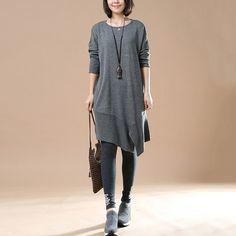 Women's Autumn Long Sleeve Round Neck Loose Gray Sweater Dress