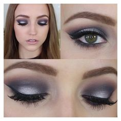 Navy Blue Silver Smokey Eye Makeup Tutorial ❤ liked on Polyvore featuring beauty products, makeup and eye makeup