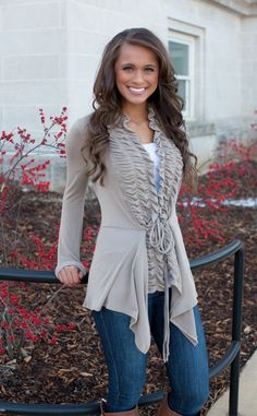 The Pink Lily Boutique - Taupe Ruffle Cardigan, $39.00 (http://thepinklilyboutique.com/taupe-ruffle-cardigan/)