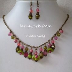 Lapwork Rose OOAK beaded necklace/earrings by PirateSwag on Etsy, £9.50