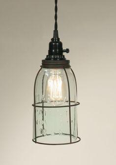 Half Gallon Caged Mason Jar Pendant Lamp - Green/Rust