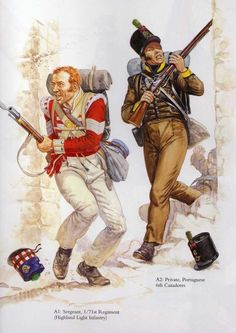 Sergeant Regiment (Highland Light Infantry) and private Portuguese Cazadores Albuera Military Art, Military History, First French Empire, British Uniforms, Royal Marines, Napoleonic Wars, Kaiser, British Army, Armed Forces