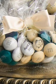 Personalised M&Ms wedding favors! (costs like $240 for 100 prepackaged or…