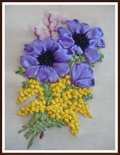 Wonderful Ribbon Embroidery Flowers by Hand Ideas. Enchanting Ribbon Embroidery Flowers by Hand Ideas. Ribbon Embroidery Tutorial, Flower Embroidery Designs, Embroidery Patterns Free, Silk Ribbon Embroidery, Embroidery For Beginners, Hand Embroidery, Embroidery Stitches, Embroidery Supplies, Ribbon Art