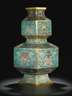 A CLOISONNÉ ENAMEL 'BAJIXIANG' DOUBLE-GOURD VASE<br>QING DYNASTY, QIANLONG PERIOD | Lot | Sotheby's