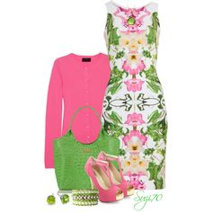 Printed Day Dress by suzi70 on Polyvore featuring Clover Canyon, J.Crew, INC International Concepts, Brahmin, BUBA, Blue Nile and Coralia Leets