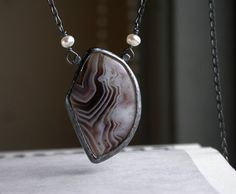 Botswana Agate Necklace by studio94 on Etsy. Nice side bail connections.