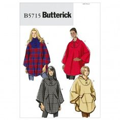 Butterick Ladies Easy Sewing Pattern 5715 Loose Fitting Capes | Sewing | Patterns | Minerva Crafts