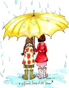 Umbrella Card- Maybe I can't stop the down pour of the rain, but I will always join you in a walk in the rain.