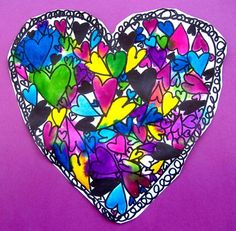 "Hearts - repetition, overlapping...markers with spray at end to ""bleed""colors"