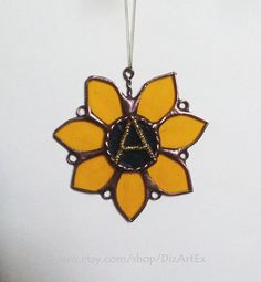Yellow Flower With Letter A. Stained Glass Pendant. by DizArtEx