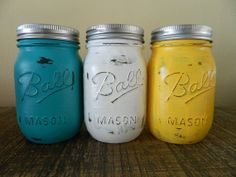 Shabby Chic Mason Jar Vase Painted and by whatsyoursigndesigns, $15.00