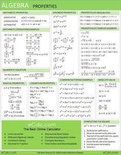 This algebra sheet is used to help with homework. This sheet shows the basic problems and equations used in algebra. Algebra Help, Maths Algebra, Math Help, Algebra Equations, Algebra Activities, Math Fractions, Solving Equations, Maths Fun, Math Homework Help