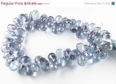 CIJ SALE Plump Mystic Blue Quartz Faceted briolette beads by BeadingHeartCo