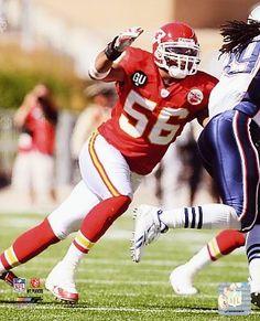 A autographed photo of Kansas City Chiefs Pro Bowl linebacker Derrick Johnson, #56.