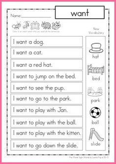 math worksheet : sight words kindergarten sight words and word sentences on pinterest : Kindergarten Sight Word Sentences Worksheets