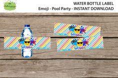 Emoji Birthday Bottle wrapper - Pool Party Emoji bottle wrapper- Emoji party - Emoji Pool Party- Instant Download by OKPRINTABLES