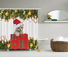 Kitten Cat Holiday Christmas Present Fabric Digital Art Shower Curtain ** See this great product.