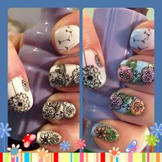 Nail stamping art, using MoYou pro plate 06 and my own Frankened sheer polishes.  Love this look!!