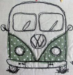 Muse - Campervan (by Vintage Jelly) Freehand Machine Embroidery, Free Motion Embroidery, Machine Embroidery Applique, T3 Vw, Volkswagen Bus, Sewing Art, Free Sewing, Thread Painting, Sewing Class