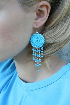 Crochet Hoop Earrings with beads by bariand on Etsy, $9.99
