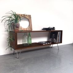 Large Vinyl Storage Console Record Player Stand Sideboard