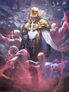 As incríveis ilustrações de fantasia para card games de Clint Cearley - (Skybolt) Phantom Archer Harmitt - Legend of the Cryptids