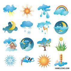 Погода и времена года - иконки в векторе | Weather vector icons