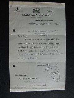 WW1 ANZAC SERVICEMAN  Samuel Aurthur Vickers 75 Coppin St Richmond